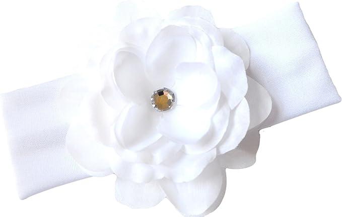 Baptism Headband Christening Bows and Headbands bandeau bapt\u00eame White Flower Baby Girl Headband on White Stretch Lace Baby Headband