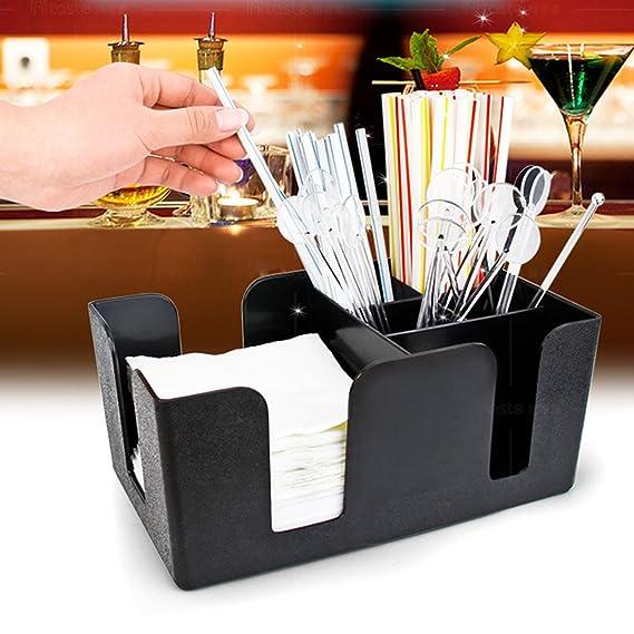 Amazon.com: HAPPYNUTS Bar Caddy Organizer with 6 Compartments, Barware Caddy, Bar Caddy Napkin Dispenser, Straw Organizer: Kitchen & Dining