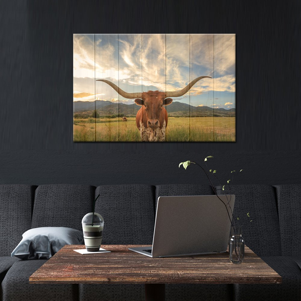 Kreative Arts Wood Style 24x36inch Large Modern Canvas Wall Art for Home and Office Decoration Animal Pictures Print Art on Canvas Texas Longhorn Canvas Prints Giclee Artwork for Wall