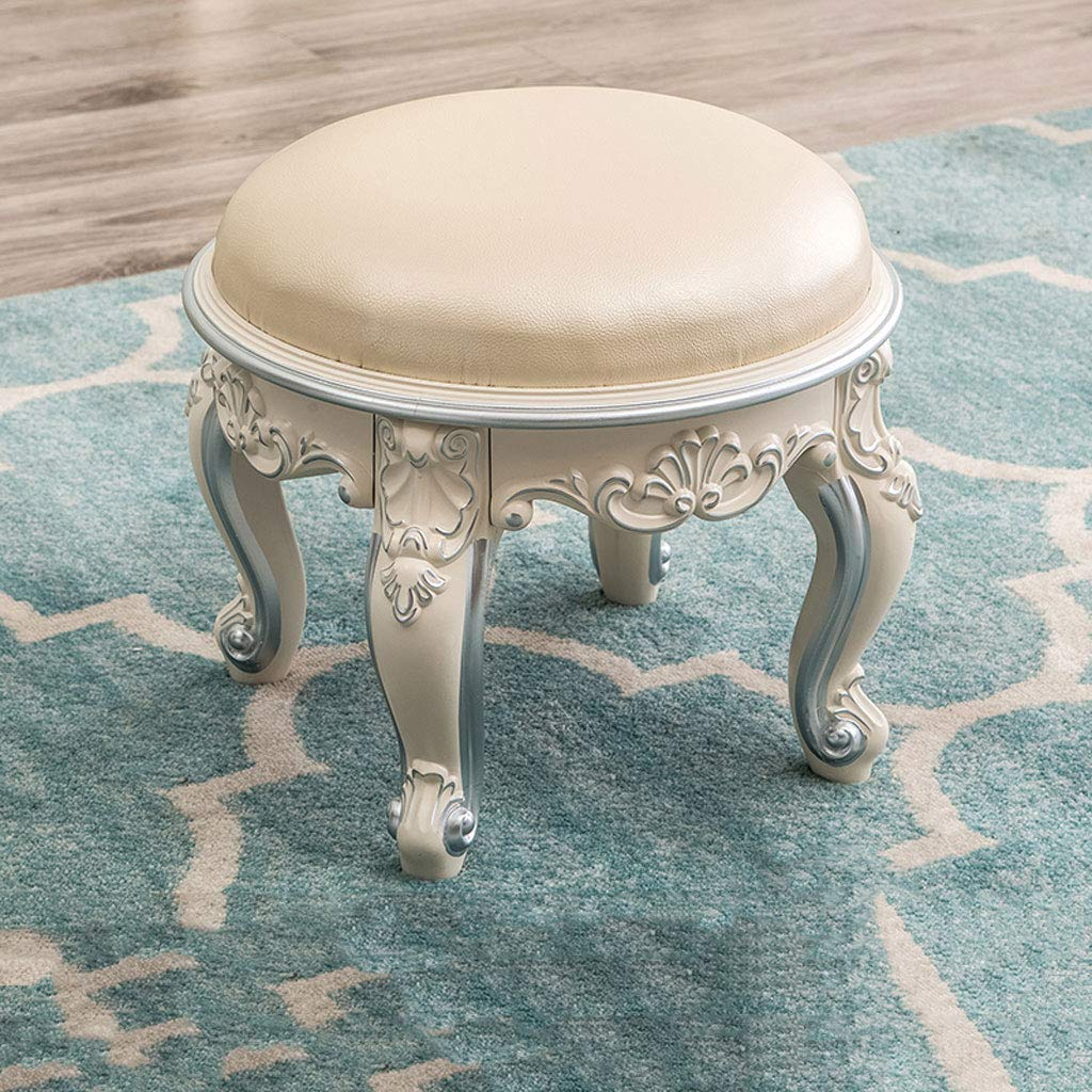 Silver B GAIXIA-Sofa stool Coffee Table Stool Living Room Round Stool Fabric Sofa Stool Ivory White Carved shoes Stool 30x35cm (color   Silver, Size   A)