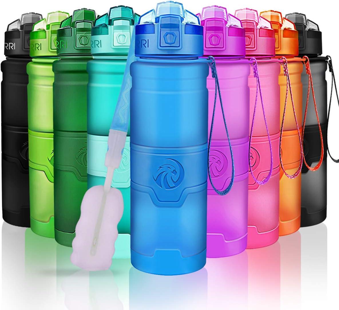 ZORRI Botella de Agua Deportiva-400ml/500ml/700ml/1000ml-sin BPA & a Prueba de Fugas, Reutilizable de plastico tritan, Agua Botellas Ideal con Filtro para niños Adulto,1-Click Apertura