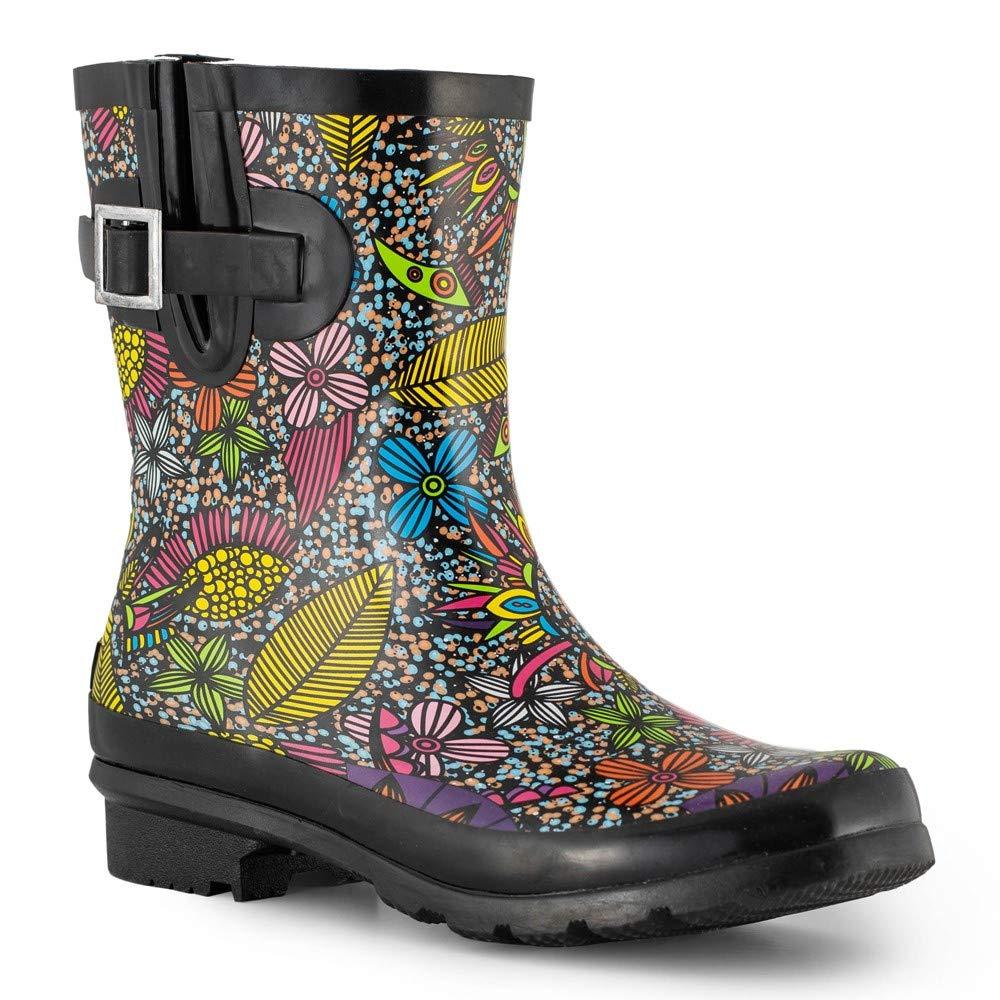 Women's Waterproof Rubber Short Rain Boots for Garden Half Calf Floral Printed
