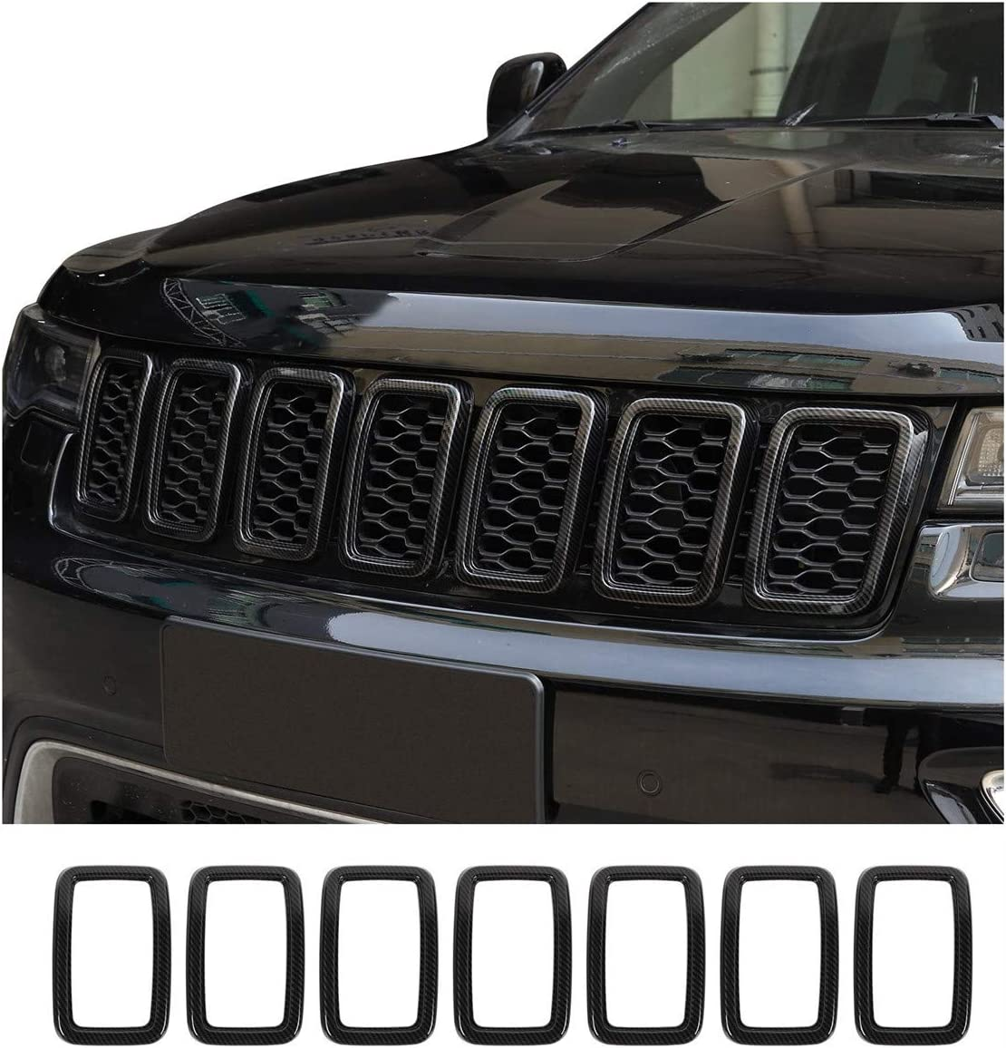 Front Grille Rings Grill Inserts Cover For 2017-2019 Jeep Grand Cherokee Black Grill Frame Trim Kit 7pcs Black