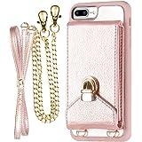 iPhone 7 Plus Crossbody Purse Women, ZVEdeng iPhone 7 Plus/8 Plus Crossbody Bags Cell Phone Purse Credit Card Holder, Rose Gold
