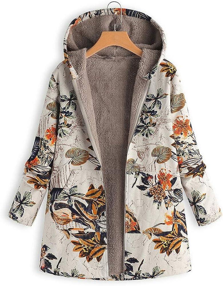 Yowablo Kapuzenpullover Damen Kapuzen Winter Hoodie Blumendruck Plus Size Pl/üsch Warme Taschen Langarm Jacke