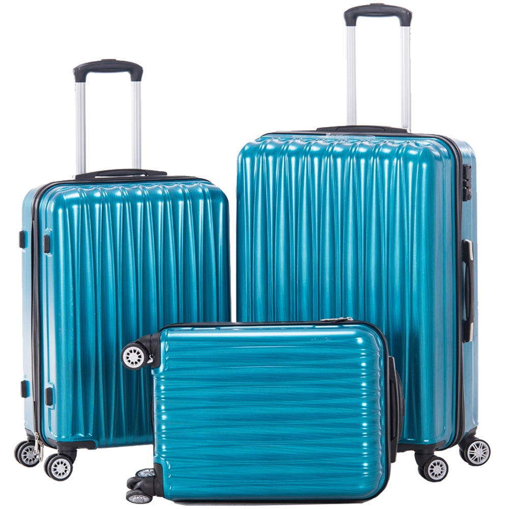 Luggage 3pcs Set Hard Shell Spinner Suitcase PC+ABS Lightweight Travel Trolley Bag Carry On Trolley Case- 3 Piece (28inch + 24inch +20inch) (Peacock Blue) by PIANETA