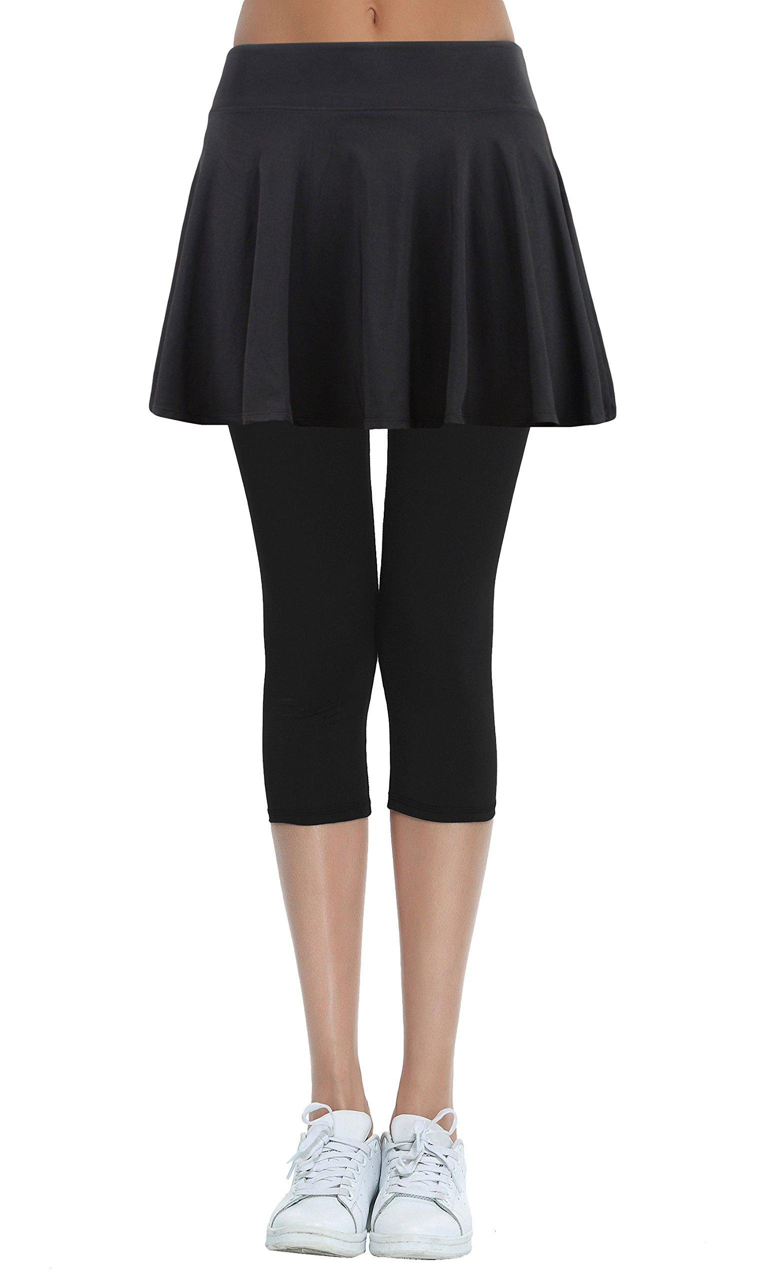 HonourSport Women's Skirted Capri Leggings, Active Tennis Printed Skorts(Black,L)