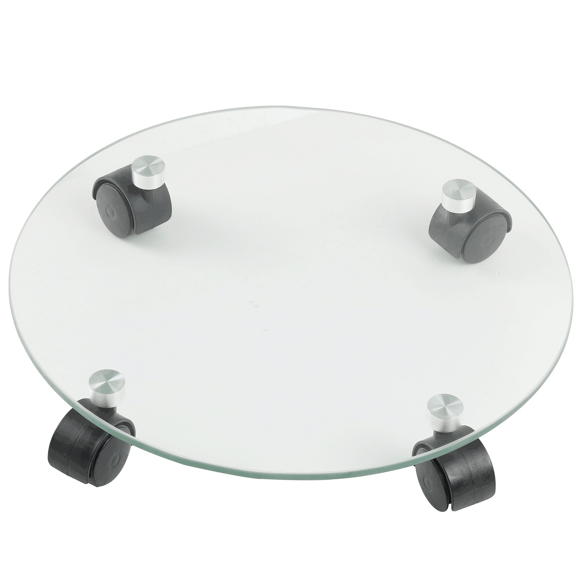 FLORA GUARD 13.8 inch Heavy Duty Plant Caddy- Glass Round Stand, Glass Grinding Surface with Universal Wheel, Indoor Outdoor Garden