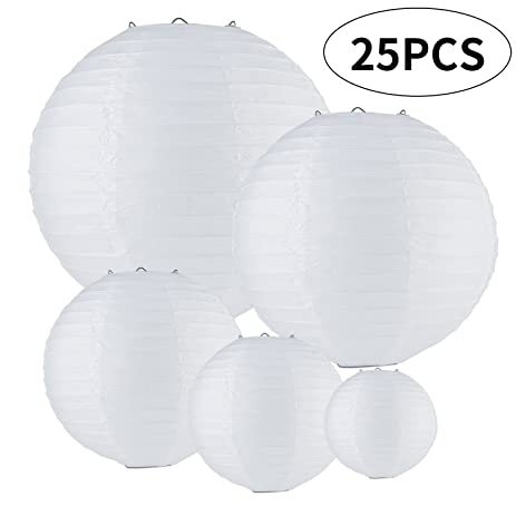 Amazon monilon paper lanterns 25 pack white round chinese monilon paper lanterns 25 pack white round chinese paper bamboo lantern lamp hanging white aloadofball Image collections