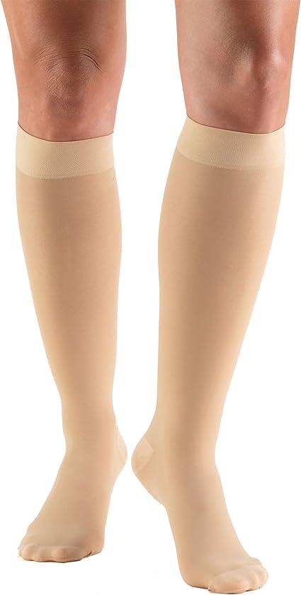 Truform Womens Compression 20-30 mmHg Thigh High Stockings Beige 2 Count Medium