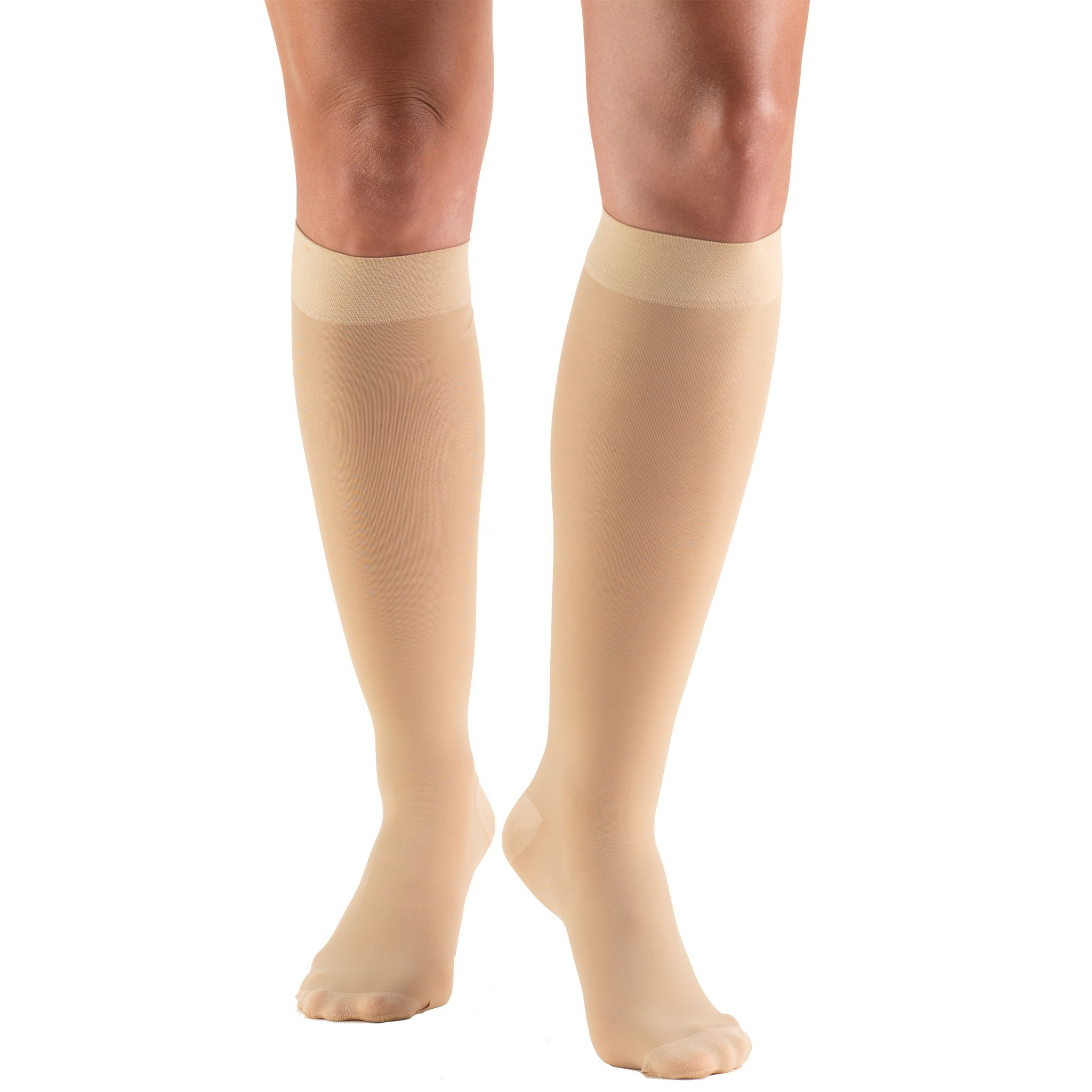 Truform Women's 20-30 mmHg Sheer Knee High Compression Stockings, Beige, X-Large