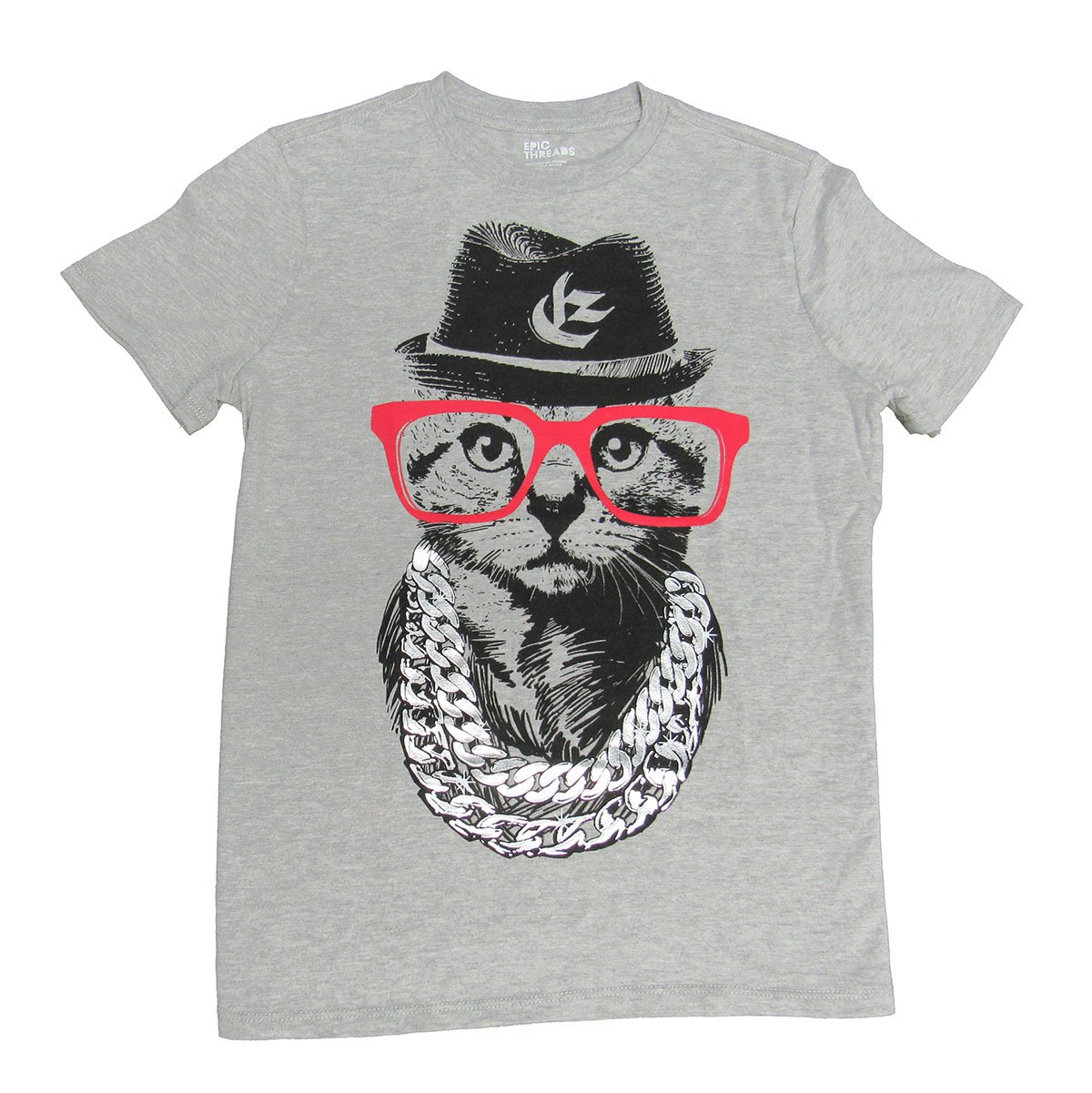 Epic Threads Boys' Cat with Red Glasses T-Shirt Light Grey Heather Medium