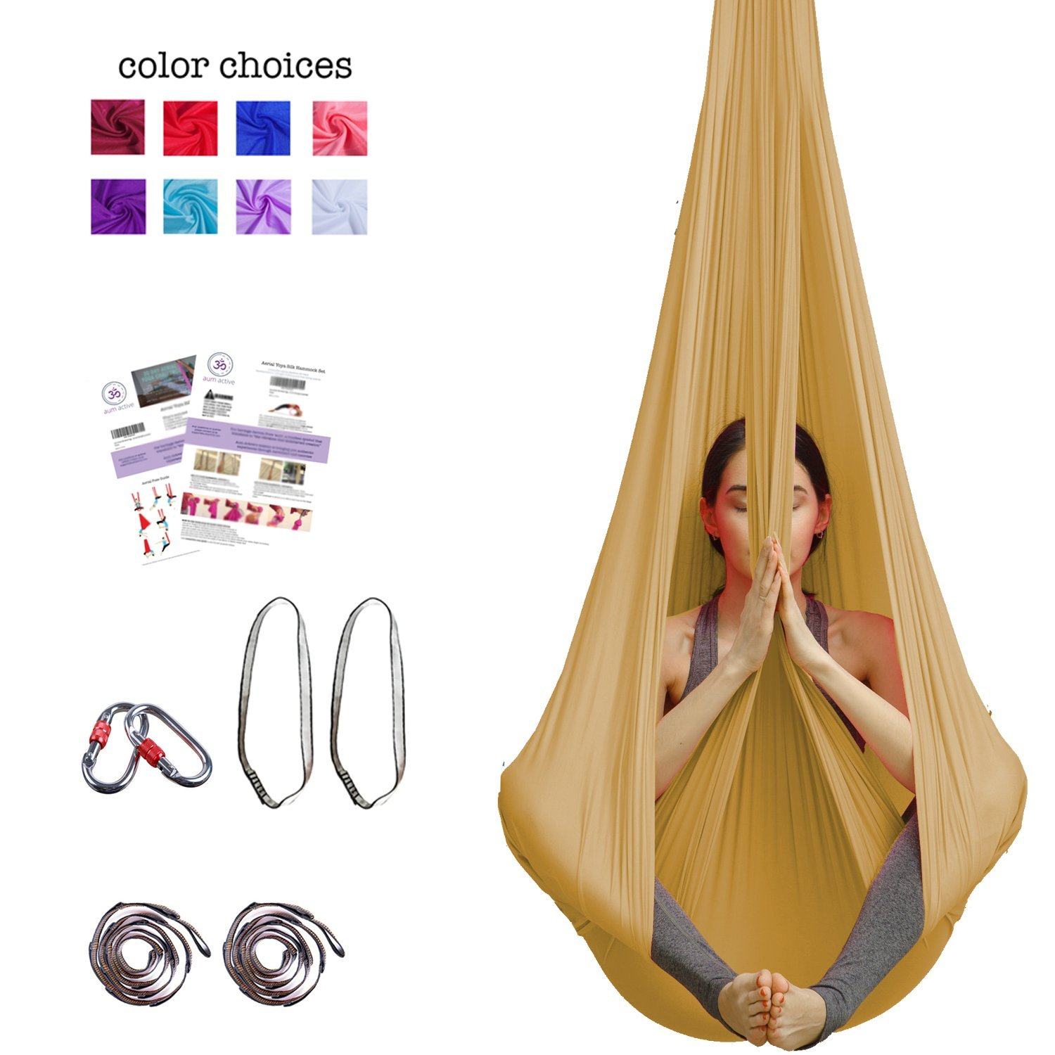 Aum Active Silk Aerial Yoga Swing & Hammock Kit for Improved Yoga Inversions, Flexibility & Core Strength (Gold)