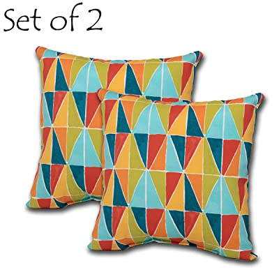 Comfort Classics Inc. Set of 2 Square Outdoor Throw Pillow 15x15x4.5. Polyester Fabric Painted Triangles : Garden & Outdoor