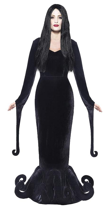 Mortisia Hexe KLEID MIT PERÜCKE Kinder Kostüm Halloween Gothic Zauberin Addams