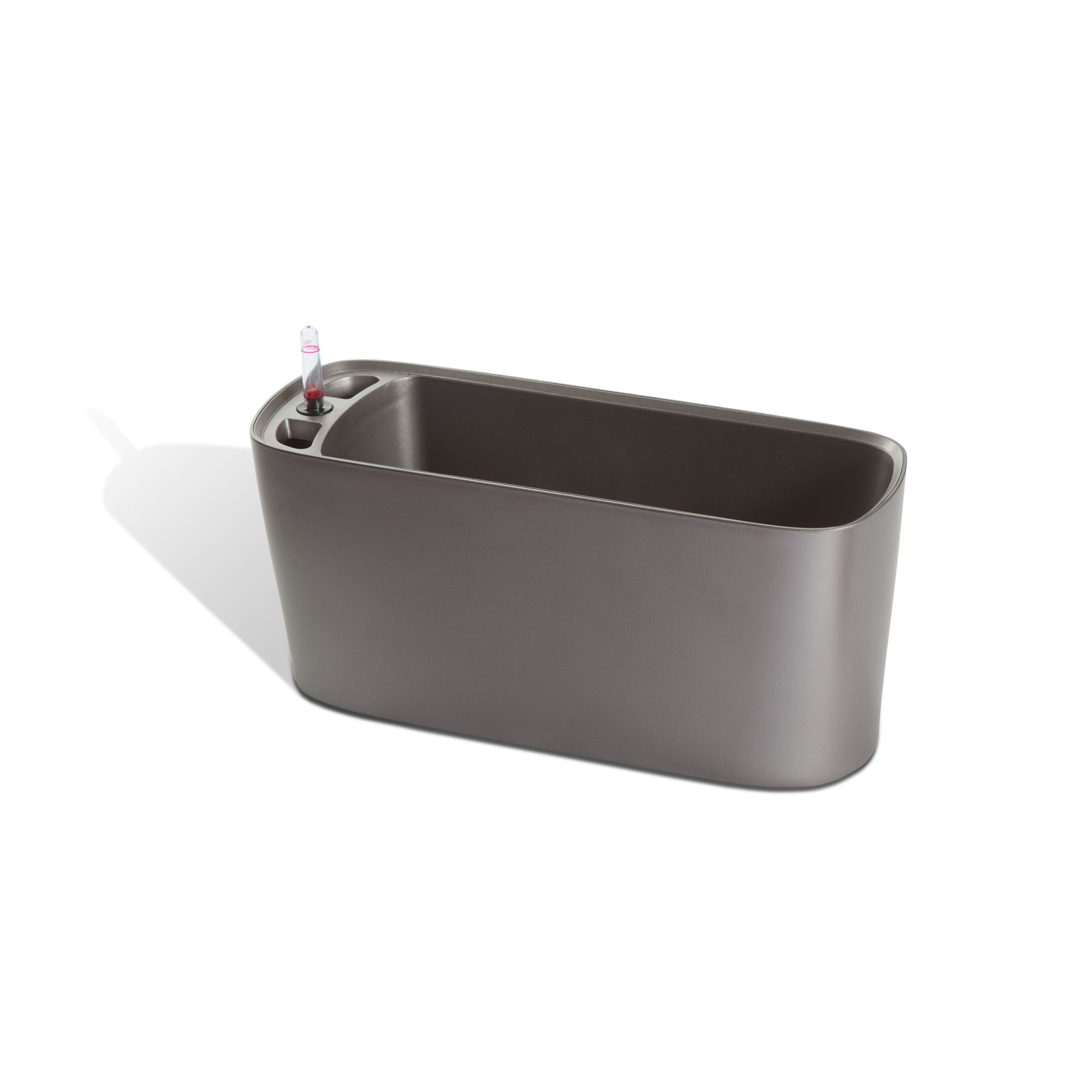 Algreen 15205 Self Watering Modena Windowsill Planter and Herb Garden, Matte Silver