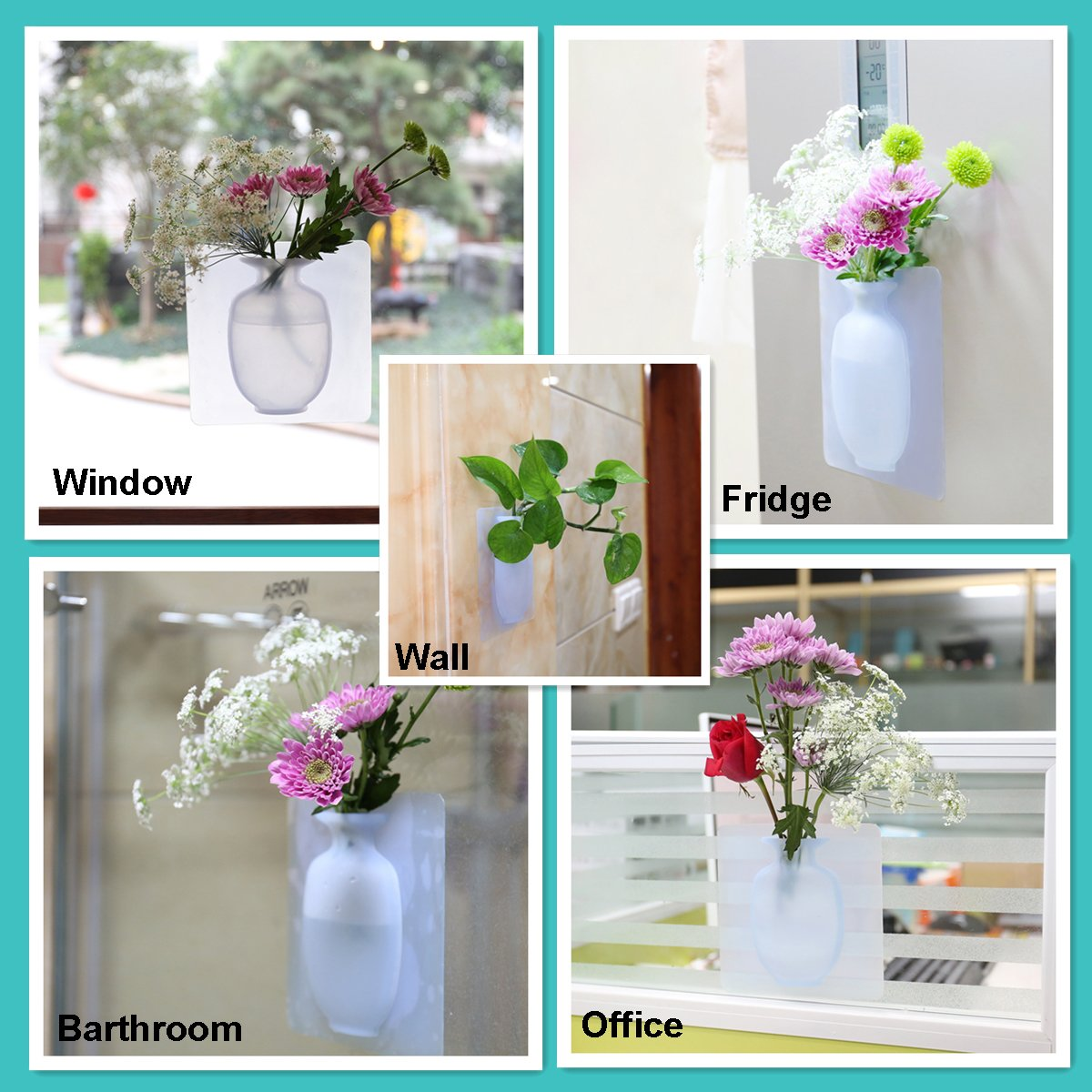 Coolnice Wall Vase Hanging Flower Container with Strong Sticky - Food Grade Silicond - Great for Indoor Outdoor Decoration