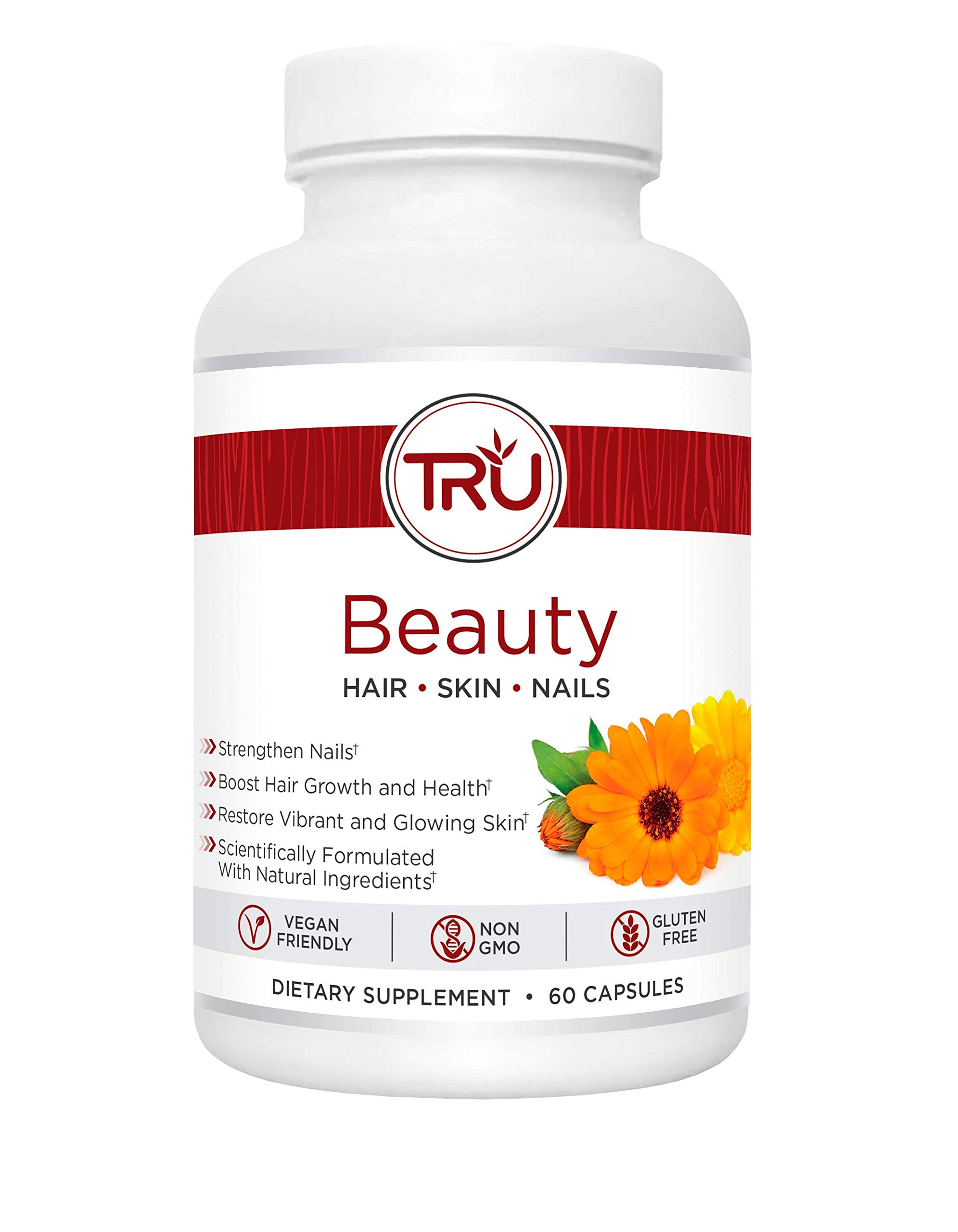 TRU Beauty | Glowing Skin - Strong Nails - Healthy Hair | Natural Formula with Biotin + 6 Clinically Proven Ingredients | Vegan and Non-GMO | 60 Capsules