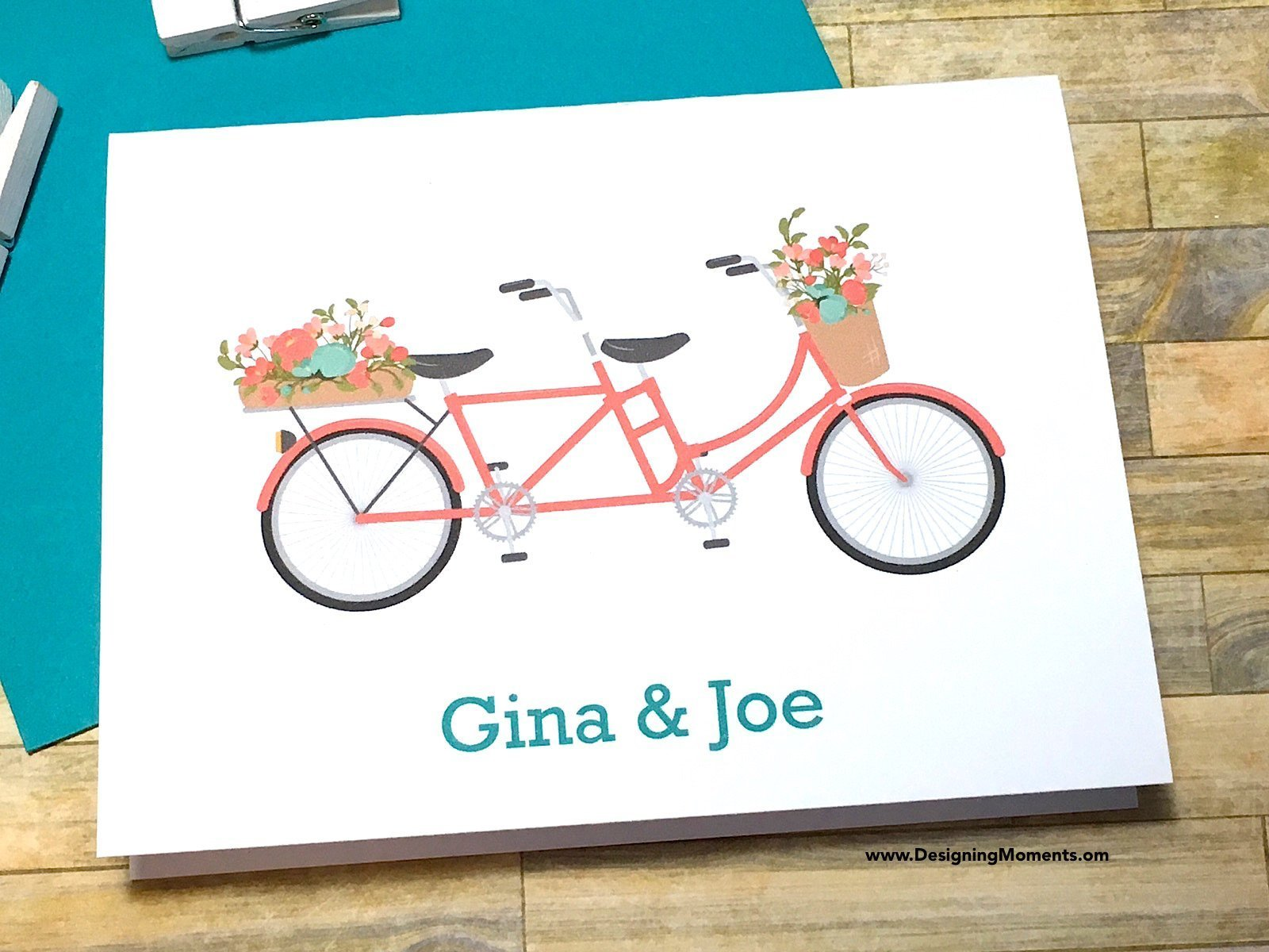 Coral Tandem Bicycle Personalized Note Cards, Thank You Cards, Mint Teal Coral Bike Cards, Custom Bike Cards, Personalized Stationary DM199