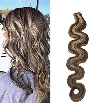 Long Wavy Tape Hair Extensions 20 Brown With Blonde Mixed 50grams 20pcs Skin Weft Blonde