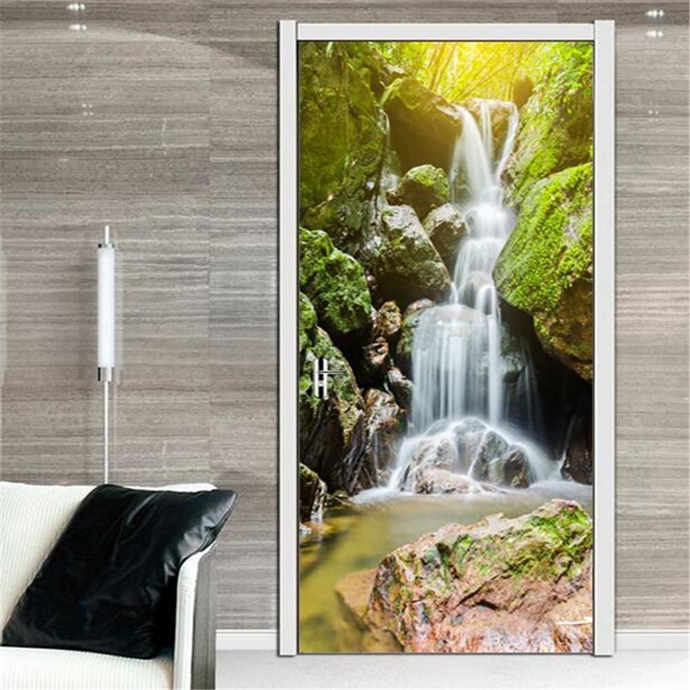 200cm 38.5 2 PLYY Adesivi per Porte 3D tridimensionali Cascata di Montagna Adesivi per Porte creativi Adesivi Rimovibili in Vinile Adesivi murali in PVC Autoadesivi Impermeabili Dimensioni