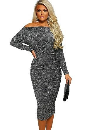 30312b18 KaleaBoutique Women Metallic Glitter Long Sleeve Off Shoulder Bodycon  Ruched Shiny Midi Dress at Amazon Women's Clothing store: