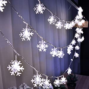 Snowflake String Lights-Christmas Lights Battery Operated 19.6ft 40 LED String lights Waterproof Fairy Lights 2 Modes Christmas White Lights Indoor Outdoor for Xmas Garden Patio Bedroom Party Decor