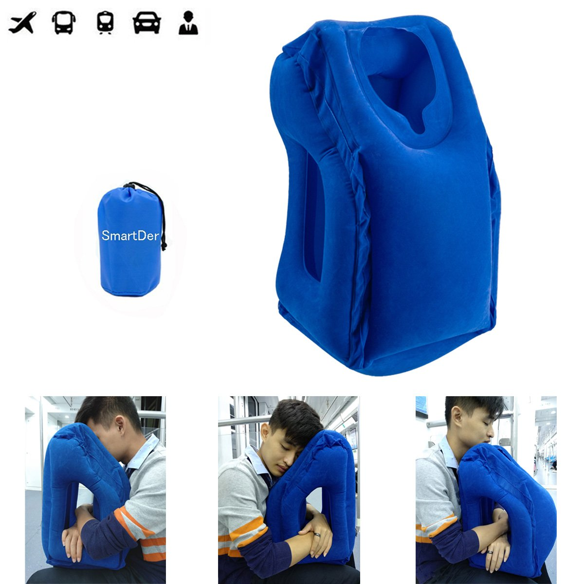 Inflatable Travel Pillow, SmartDer Airplane Pillow, Neck Pillow for Airplane Travel, Travel Pillows for Airplanes & Office Napping with Head & Neck Support (Blue)