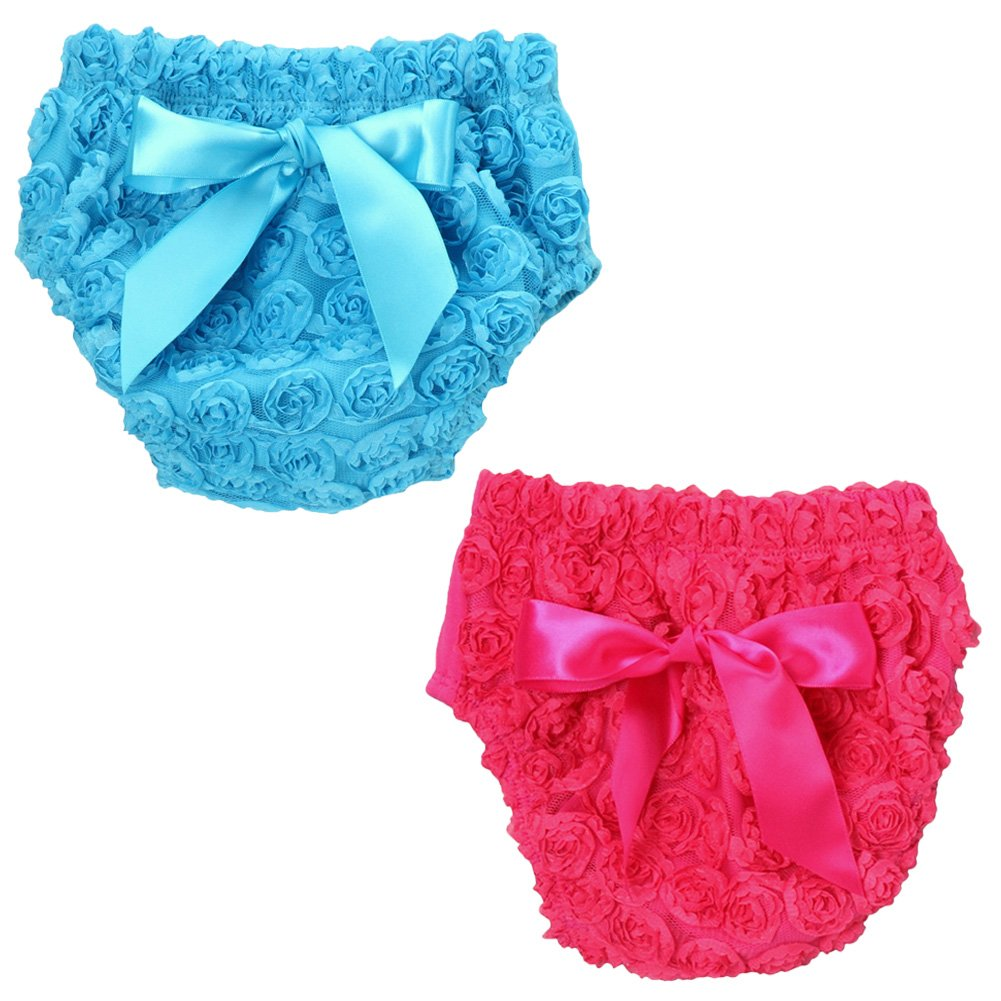Fancy Chiffon Rosette Baby Diaper Cover Bloomer 2-Pack Gift Set (Choose Color and Size)