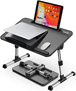 Laptop Desk for Bed, AONOR Laptop Bed Tray Table with Adjustable Height & Foldable Legs, Portable Stand Bed Desk for Notebook Ipad, Wooden Tablet Table for Couch/Sofa, Applicable for Writing/Drawing
