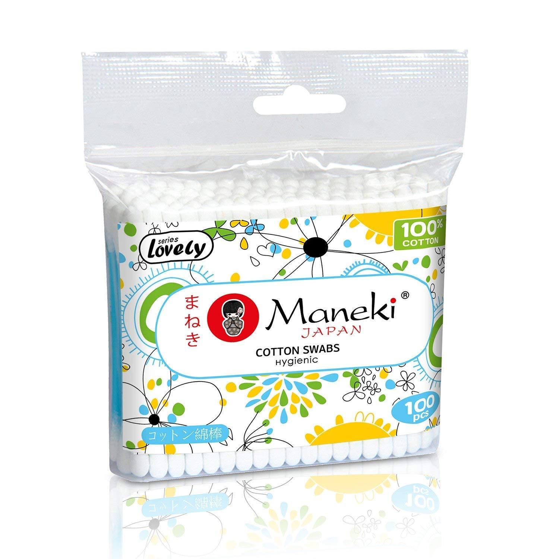 Maneki Lovely 100% Cotton Buds, Double Head, Round Applicators, Premium Quality, 100 Pieces