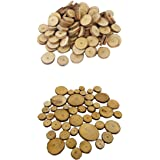 MonkeyJack 150 Pieces Assorted Size Natural Pine Tree Wood Slices Round Log Circles Discs for Arts & Crafts, Home Hanging Dec