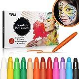Y.F.M 12 Colores Pinturas Faciales y Corporales, Lapices Faciales - Kit de Decoración de Halloween, Maquillaje Navidad y…