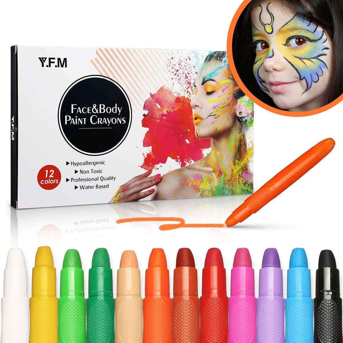 22858e8b7 Y.F.M 12 Colores Pinturas Faciales y Corporales, Lapices Faciales - Kit de  Decoración de Halloween