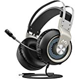 Mpow Gaming Headset, Virtual 7.1 Surround Sound Gaming Headset, 50mm Driver, Stereo USB Headset with Noise Cancelling Mic, Over Ear Soft Memory Earmuff, LED Light, Compatible with PC, PS4 (Silver)