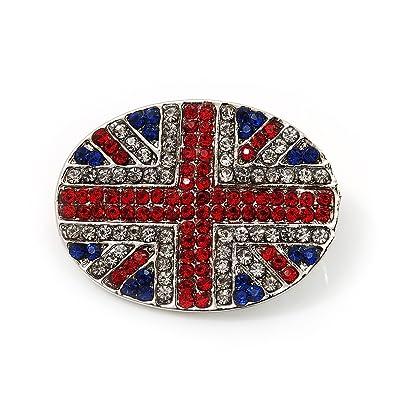 Swarovski Crystal Union Jack Flag Brooch In Silver Plating - 3.5cm Length riUs80C5