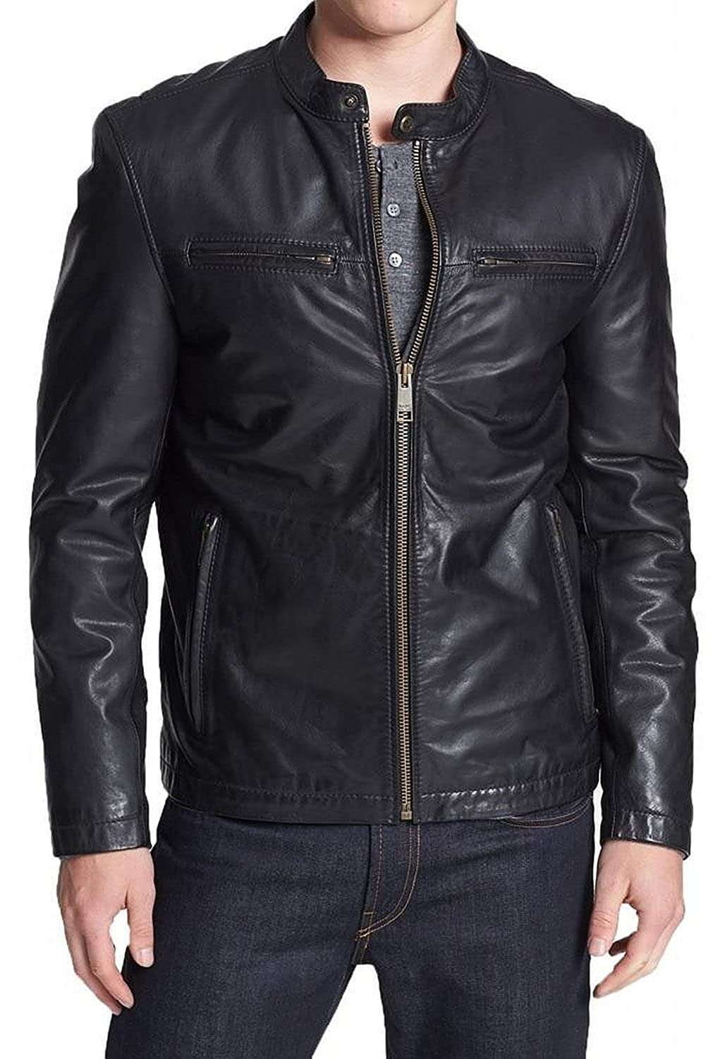 Laverapelle Men's Lamb skin Real Leather Jacket Black - 1510021