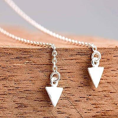 Shooting Arrow Threader Chain Earrings in Sterling Silver