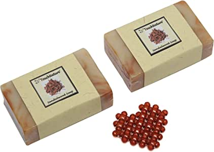Touch Nature Sandalwood Handmade Soap with Beaded Soap Drainer. All Natural. Moisturizing. No SLS and Parabens. (2pc 100gm)