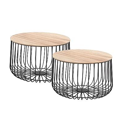 IDIMEX Lot de 2 Tables dappoint Padova Tables /à caf/é Tables Basses Rondes Bouts de canap/é Design Vintage Industriel Rangement Panier en m/étal avec Plateau Amovible en MDF d/écor Bois Naturel