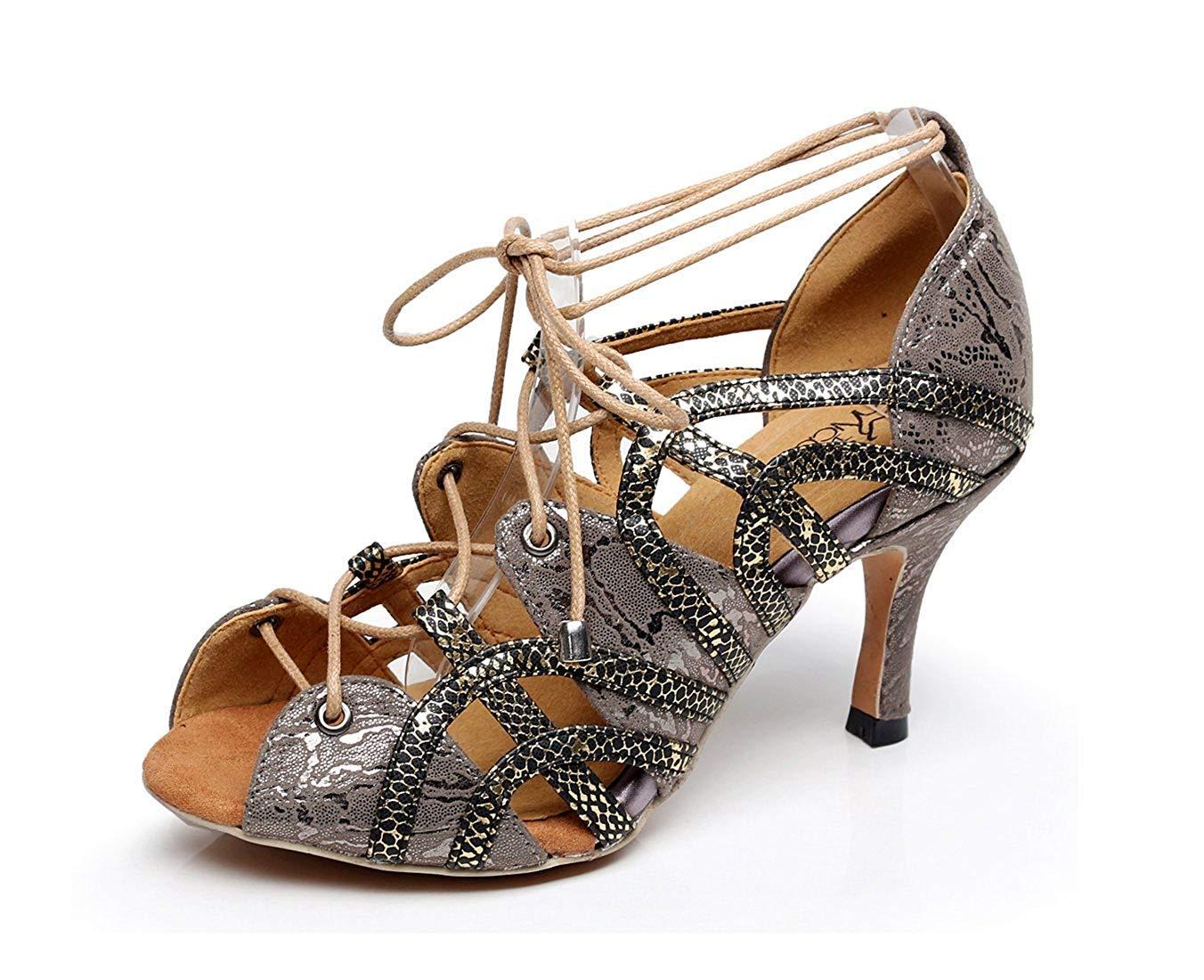 Qiusa Damen Weiche Gummisohle Peep Toe Dunkelgrau Synthetisch Salsa Latin Tanzschuhe Party Sandalen UK 7.5 (Farbe   - Größe   -)