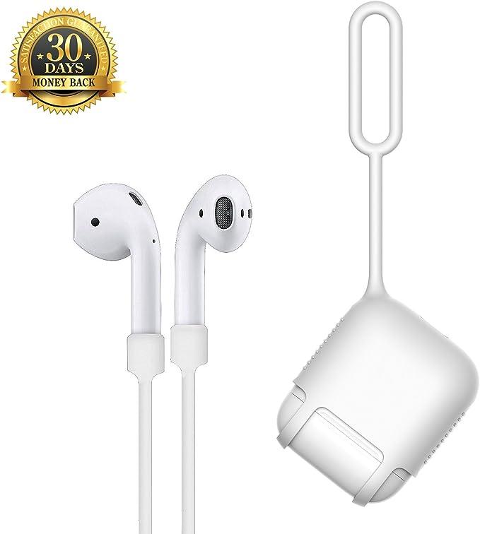 Estuche Apple Airpods (Incluye Correa White Airpods), Funda Protectora Y Diseño De Correa De Silicona A Prueba De Golpes Con Abertura Inferior Para El Escuche De Carga De Apple Airpods (Blanco): Amazon.es: