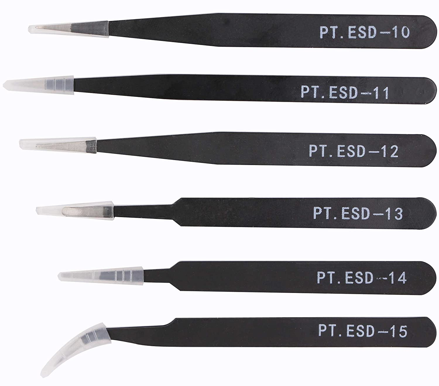 ESD Safe Tweezers Set 6 Piece Precision Anti Static Electronic Nipper Took Kits Stainless Steel Blunt Curved Straight Tips For Electronics Laboratory Work Hobby Bead Jewelry Craft Making