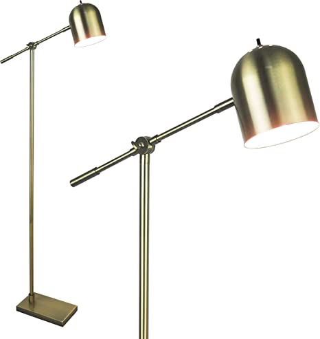 Gold Floor Lamp For Reading By Lightaccents Adjustable Cantilever Mid Century Modern Standing Home Office Lamp Showroom Quality 59 Tall Brushed