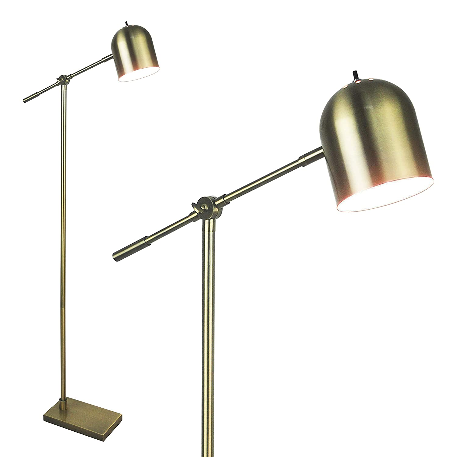 "Light Accents Floor Lamp Adjustable Cantilever Modern Bright Standing Lamp Showroom Quality 59"" Tall Brushed Gold Finish"