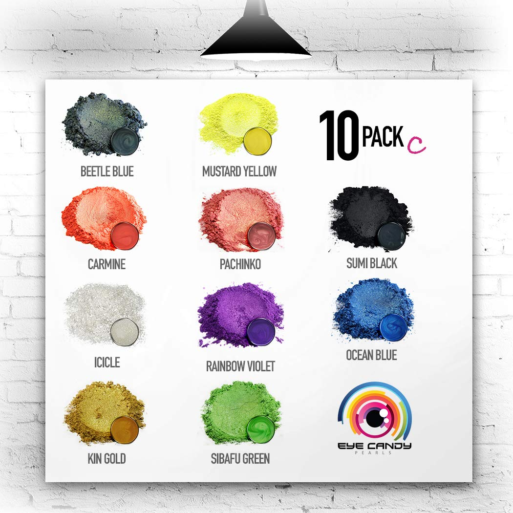 Eye Candy Mica Powder - Pigment Powder 10-Pack Set C - Colorant for Epoxy - Resin - Woodworking - Soap Molds - Candle Making - Slime - Bath Bombs - Nail Polish - Cosmetic Grade - Non-Toxic