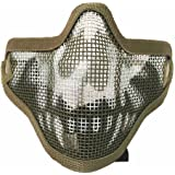 Sizet Airsoft Skull Steel Mesh Half Face Mask Protector (Green)