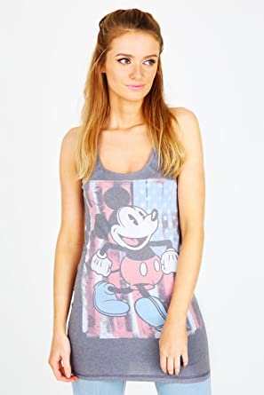 aff7cfc7 Yoursclothing Plus Size Womens Disney Dark Mickey Mouse Print Vest Size L  12-14 Grey