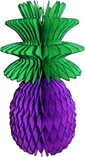 product image for 3-Pack 13 Inch Honeycomb Pineapple Party Decoration with Green Leaves (Purple)