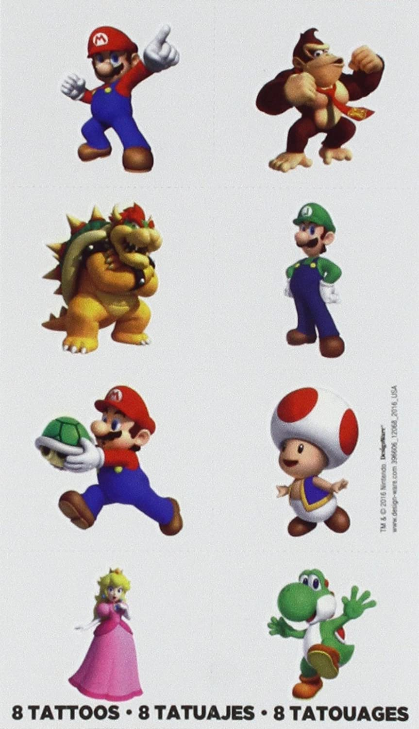 Amscan Super Mario Brothers Birthday Party Temporary Tattoo ...